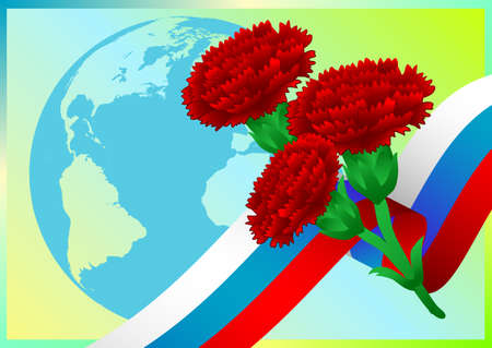 carnations: Earth globe with Russian flag and carnations on green background. Vector illustration