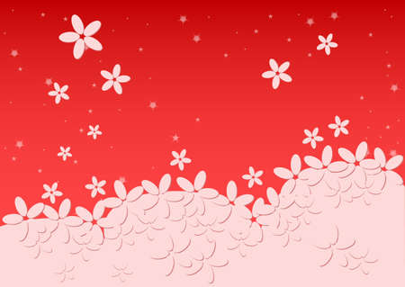 kiddie: Kiddie background for text. Meadow with light falling flowers. Red color. Vector illustration