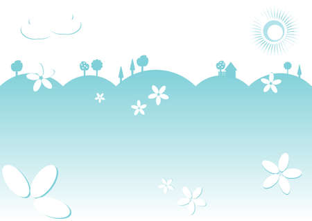 kiddie: Kiddie background for text. Meadow with trees and house on horizon. Light blue color. Vector illustration Illustration