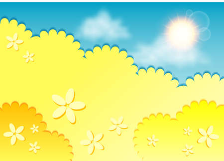 kiddie: Kiddie background for text. Meadow of yellow flowers on blue sky. Yellow color. Vector illustration