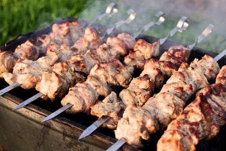 Prepared on skewers beef shish kebab. Shallow depth of field photo