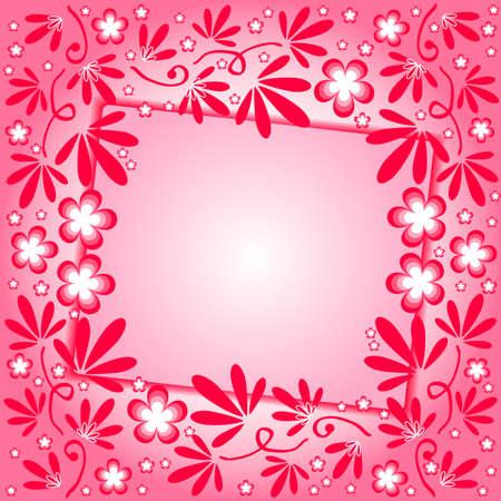 crimson: Crimson background with floral ornament and label. Vector Illustration