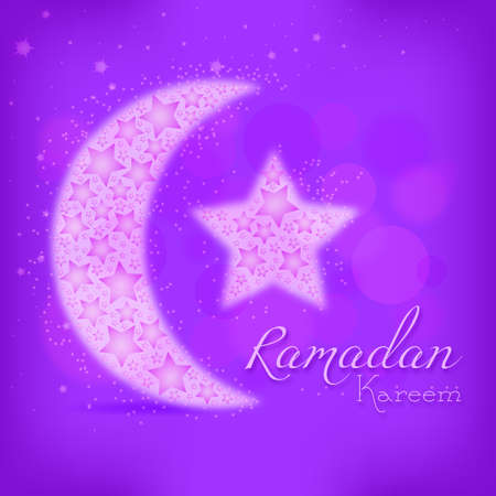 Card for congratulations with beginning of fasting month of Ramadan as well with Islamic holiday Eid alFitr and Eid alAdha. Vector illustration