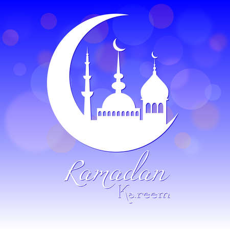 fasting: Card in blue color for congratulations with beginning of fasting month of Ramadan as well with Islamic holiday Eid alFitr and Eid alAdha. Vector illustration