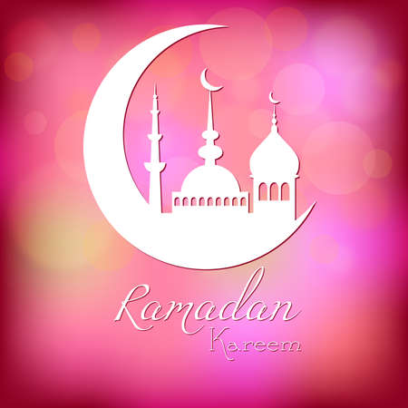 fasting: Card in pink color for congratulations with beginning of fasting month of Ramadan as well with Islamic holiday Eid alFitr and Eid alAdha. Vector illustration