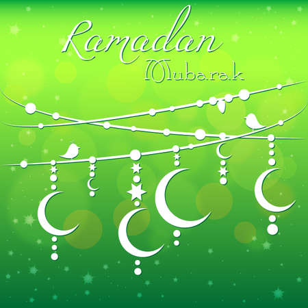 Card with garland for congratulations with beginning of fasting month of Ramadan as well with Islamic holiday Eid alFitr and Eid alAdha. Vector illustration Illustration