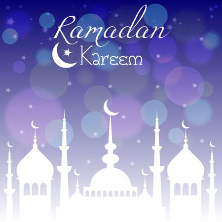 Card with mosque in night for congratulations with beginning of fasting month of Ramadan as well with Islamic holiday Eid alFitr and Eid alAdha. Vector illustration Illustration