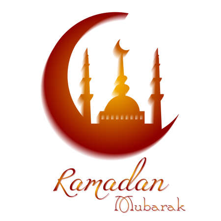 Scheda con la luna per le congratulazioni con inizio del mese di digiuno del Ramadan e con festa islamica Eid alFitr e Eid alAdha. Illustrazione vettoriale