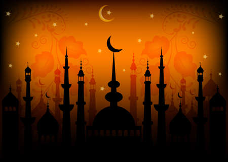 Card with mosques on sunset for congratulations with beginning of fasting month of Ramadan as well with Islamic holiday Eid alFitr and Eid alAdha. Vector illustration