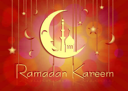 lent: Card with moon on red for congratulations with beginning of fasting month of Ramadan as well with Islamic holiday Eid alFitr and Eid alAdha. Vector illustration Illustration