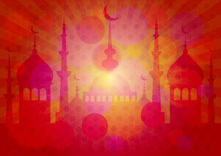 lent: Red card with mosque for greeting with beginning of fasting month of Ramadan as well with Islamic holiday Eid alFitr and Eid alAdha. Vector illustration