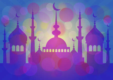 fasting: Blue card with mosque for greeting with beginning of fasting month Ramadan as well with Islamic holiday Eid alFitr or Feast of Breaking the Fast and Eid alAdha. Vector illustration Illustration