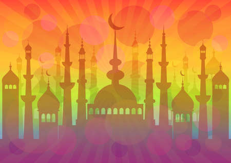 fasting: Colorful card with mosque for greeting with beginning of fasting month Ramadan as well with Islamic holiday Eid alFitr Feast of Breaking the Fast and Eid alAdha. Vector illustration Illustration