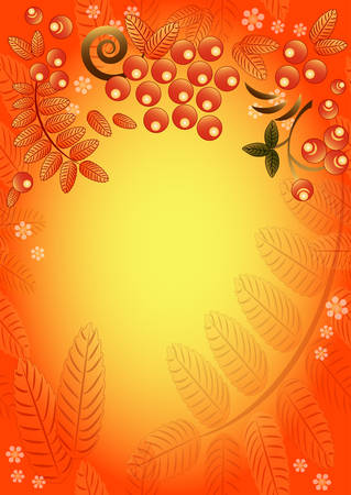 ashberry: Autumn seamless background with ornament from leaves and berries of mountain ash. Vertical orientation. Vector illustration
