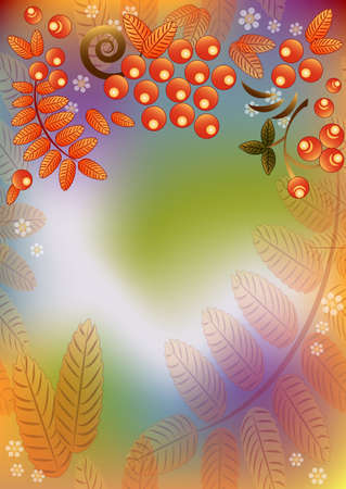rainbow colours: Autumn seamless rainbow background with ornament from leaves and berries of mountain ash. Vertical orientation. Vector illustration