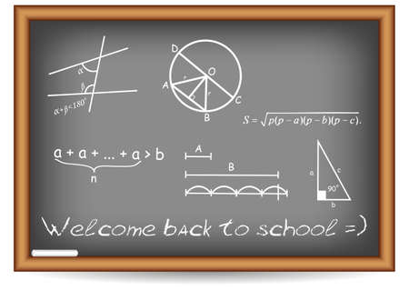 schoolmaster: Postcard for Postcard for Knowledge Day. Back to school. Blackboard with geometric examples written by chalk. Vector illustration Illustration