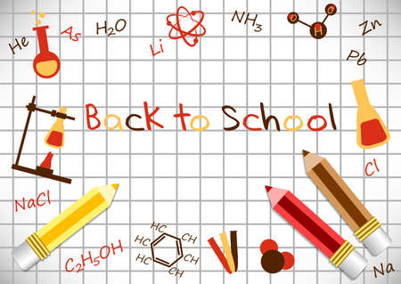 postcard back: Postcard for Knowledge Day. Back to school. Pencils and formulas from chemistry on page of notebook with cells. Vector illustration