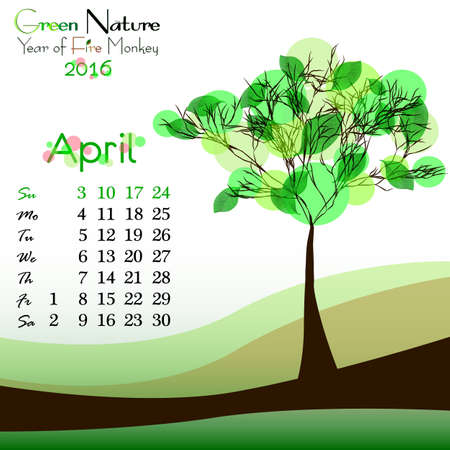 primavera: Abstract nature background with green tree and dates of April 2016. Green spring. Vector illustration Illustration