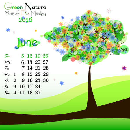 green dates: Abstract nature background with green blooming tree and dates of June 2016. Bright summer. Vector illustration Illustration