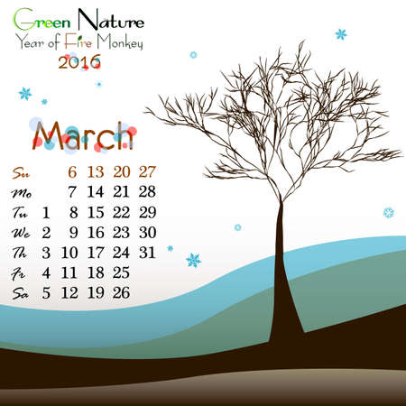 primavera: Abstract nature background with tree and dates of March 2016. Beginning of springtime. Vector illustration Illustration