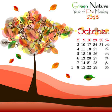 orange tree: Abstract nature background with orange tree and dates of October 2016. Golden autumn. Vector illustration
