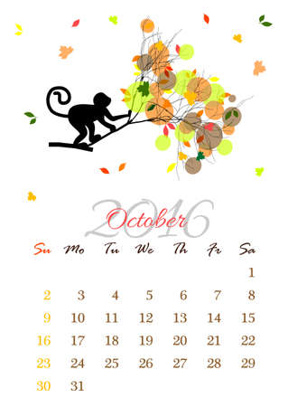 october: Calendar sheet for 2016 year with marked weekend days. October.