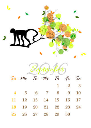 monkey silhouette: Calendar sheet for 2016 year with marked weekend days. September.  Illustration