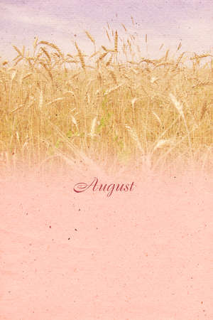 coloured background: Stylized vintage background with paper texture for calendar month. August. Raster illustration Stock Photo
