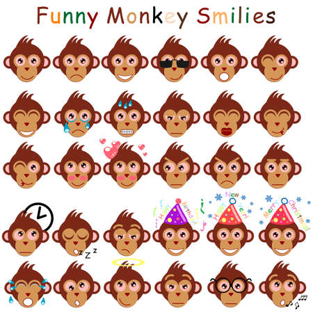 smilies: Set of smilies in form of head monkeys with different emotions. Mens set. Vector illustration