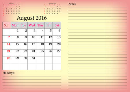 months of the year: Business calendar grid for 2016 year by months with marked weekend days. August. Place for notes and holidays. Vector illustration