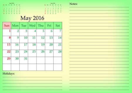 meses del año: Negocios a la red civil de 2016 años por mes con días de fin de semana marcado. Mayo. Coloque para las notas y las vacaciones. Ilustración vectorial