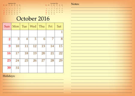 meses del año: Business calendar grid for 2016 year by months with marked weekend days. October. Place for notes and holidays. Vector illustration