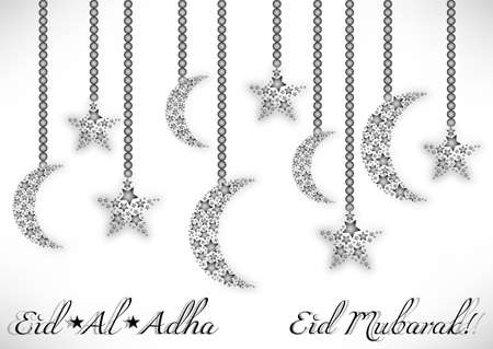 moons: Card with moons and stars on white for greeting with Islamic Feast of Sacrifice Eid al-Adha. Vector illustration Illustration