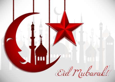 eid: Card with red moon and star on white for greeting with Islamic holidays Ramadan, Eid al-Fitr, Eid al-Adha. Vector illustration
