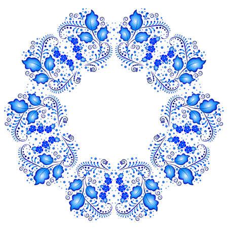 gzhel: Floral pattern in style of Gzhel in kaleidoscope effect. Vector illustration