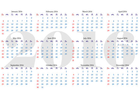 horizontal orientation: Calendar grid for 2016 year with marked weekend days. Simple design. Horizontal orientation. Vector illustration