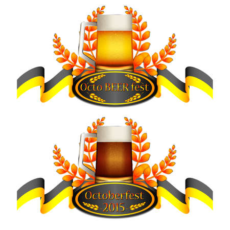 bottling: Colorful logo for postcards and greetings with Oktoberfest. Beer, flag of Munich, spikelets. In two versions. Isolated on white. Vector illustration