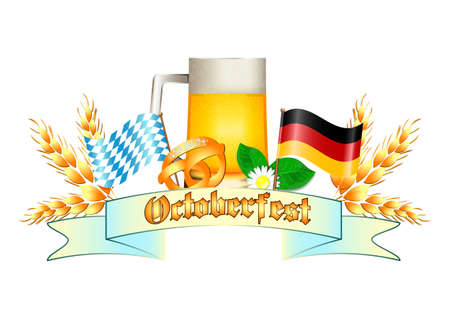 oktoberfest background: Colorful logo for postcards and greetings with Oktoberfest. Beer mug, spikelets, pretzel and flags of Germany and Bavaria, isolated on white. Vector illustration