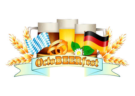 bottling: Colorful logo for postcards and greetings with Oktoberfest. Three beer mugs, spikelets, pretzel and flags of Germany and Bavaria, isolated on white. Vector illustration