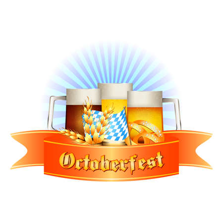 bottling: Colorful logo for postcards and greetings with Oktoberfest. Three beer mugs, spikelets, pretzel and flag of Bavaria, isolated on white. Vector illustration