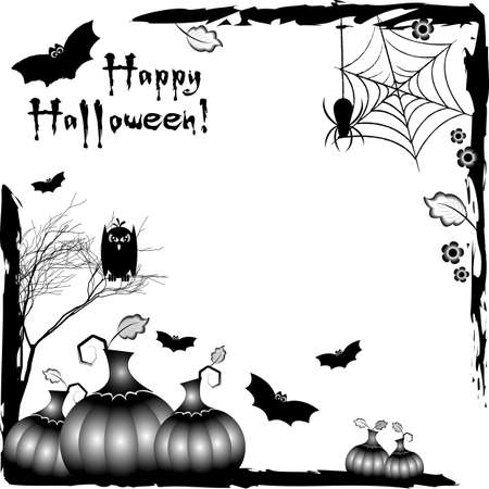 Holiday illustration on theme of Halloween. Black corner frames with pumpkins and bats. Black and white. Wishes for Happy Halloween. Trick or treat. Vector illustration