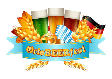 bottling: Colorful logo for postcards and greetings with Oktoberfest. Three beer beakers, spikelets, pretzel and flags of Germany and Bavaria, isolated on white. Vector illustration