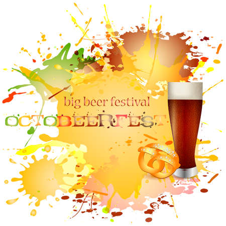 bottling: Card with blots of spilled beer on white for postcards and greetings with Oktoberfest. Beer glass and pretzel. Vector illustration