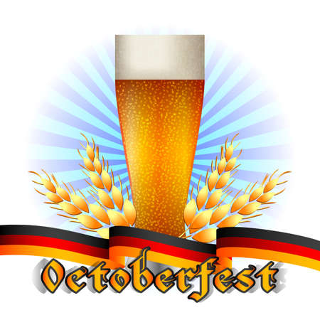 bottling: Colorful logo for postcards and greetings with Oktoberfest. Beer beaker, spikelets and ribbon in colors of Germany, isolated on white. Vector illustration Illustration