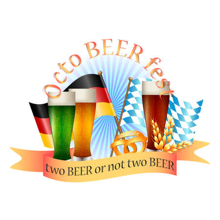 bottling: Colorful logo for postcards and greetings with Oktoberfest. Three glasses with beer, spikelets, pretzel and flags of Germany and Bavaria, isolated on white. Vector illustration