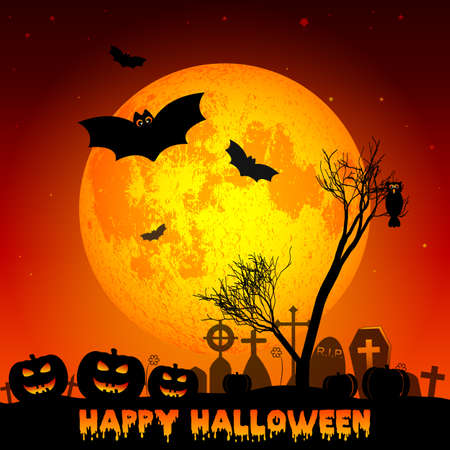 rood: Holiday illustration on theme of Halloween. Yellow moon in night on cemetery. Wishes for Happy Halloween. Trick or treat. Elements on moon of this illustration furnished by NASA. Vector illustration