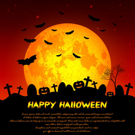 rood: Holiday illustration on theme of Halloween. Yellow moon in twilight on cemetery. Wishes for Happy Halloween. Trick or treat. Elements on moon of this illustration furnished by NASA. Vector illustration Illustration