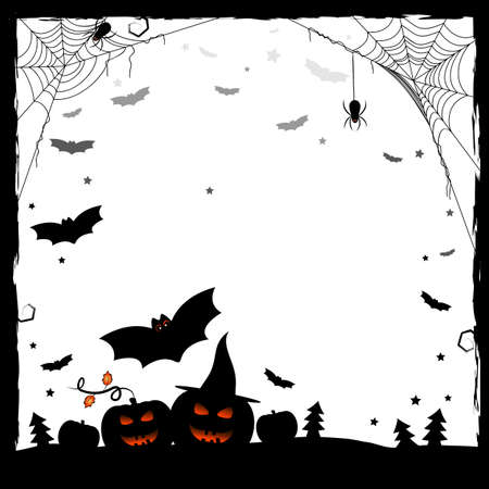 Holiday illustration on theme of Halloween. Black and white frame with pumpkins, spiders on web and bats. Wishes for Happy Halloween. Trick or treat. Vector illustration