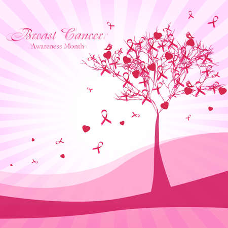 Awesome postcard with pink tree and pink ribbons and hearts as leaves on pale striped background. National Breast Cancer Awareness Month. Vector illustration Illustration