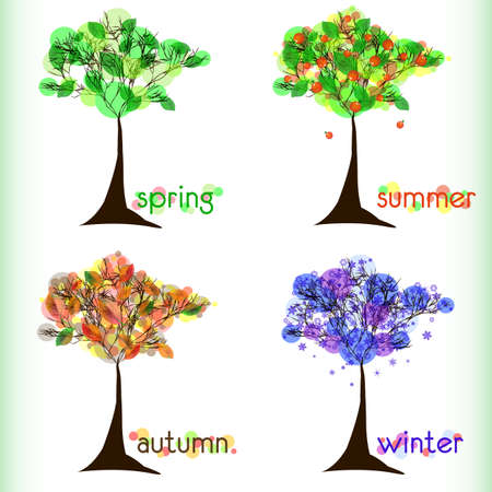 primavera: Abstract nature background with tree in four season. Green spring, red summer, yellow autumn, blue winter. Vector illustration